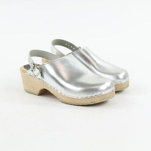 Lotta from Stockholm Swedish Clog Silver Wood Sole